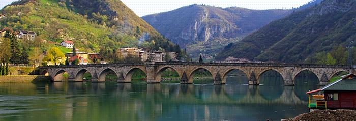 Old Visegrad bridge landmark at Drina river; Shutterstock ID 236934700; PO: U2629; Job: Enterprise EMEA content rollout; Client: Enterprise