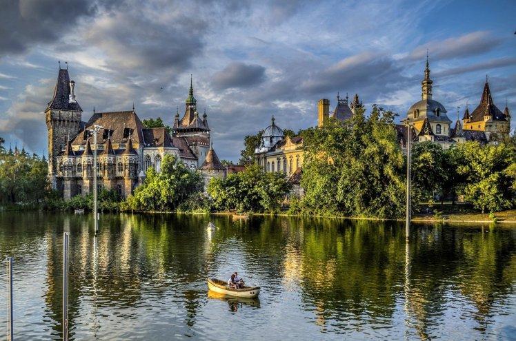 nature-lock-lake-tree-budapest-park-budapest-hungary-vaydahunyad-boat-people
